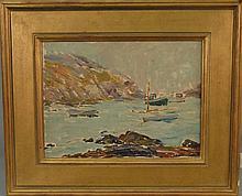 Charles Henry Ebert (1873-1959)  MONHEGAN HARBOR  oil on board  unsigned  letter on reverse from Lyman Allyn Museum, New Lon...