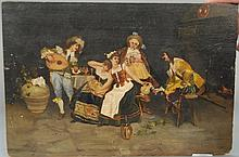 A. Palma  Interior Scene  DANCING AND DRINKING BY FIREPLACE  oil on canvas  signed lower right Gupia Vinec A. Palma 1893 1...