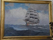 T. Bailey (19th/20th century), SHIP CRASHING THROUGH THE SEA. oil on canvas, signed lower right, T. Bailey. 24 x 32