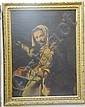OLD MASTER elderly woman warming her hands with a dog oil on canvas relined   - 39
