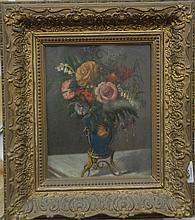 Caroline Noell oil on board still life of flowers in vase signed lower left Caroline Noel? 1874.10
