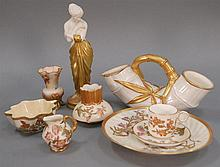 Wleven piece lot of Royal Worcester including casters, plate, cup and saucer, two vases, bowl, and creamer (one foot missing on cast...