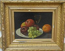 19th/20th century still life of fruit with glass of wine, oil on canvas, unsigned, in gilt Victorian frame.12
