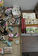 Three box lots to include royal Crown Derby place card holders, Halcyon Days enamels peint main Limoges ox, Herend box, capodemonte ...