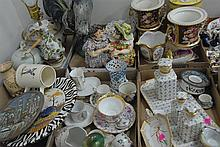 Six box lots of porcelain to include Royal Copenhagen, pair of vases, Italy rooster, etc.
