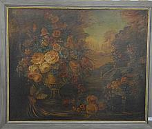 Large oil on canvas still life of birds, fruits, and flowers with courtyard in background, unsigned.