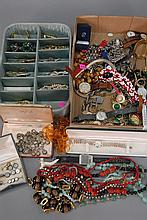Two box lots of costume jewelry with watches.