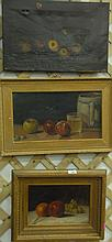 Three oil on canvas still life of fruit, two unsigned and one signed lower right Reyer.Reyer 7 1/2