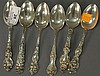 Set of six sterling silver teaspoons, 6.8 t oz.