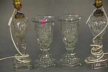Pair of sweet meat stems ht. 9 1/2 in. and pair of crystal electrified oil lamps total ht. 17 in.