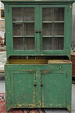Primitive cupboard in two parts, in old paint, ht. 74in.; wd. 48in.