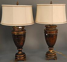 Pair of contemporary table lamps, ht. 35in.