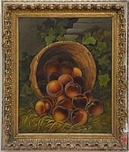 Oil on canvas still life of peaches with basket, unsigned, 21