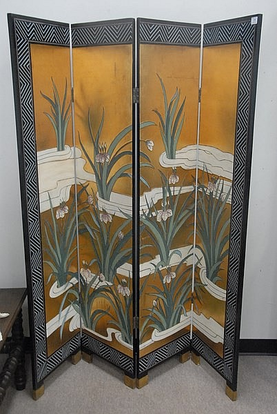 Four fold Oriental screen, ht. 72