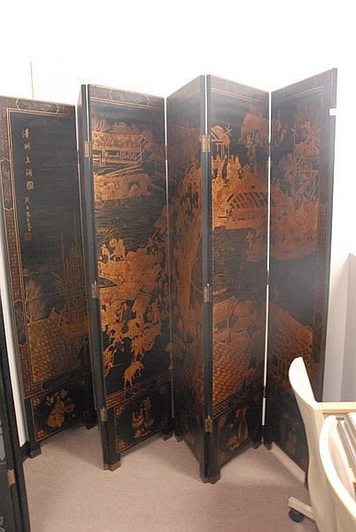 Six part Asian folding screen with gold painted scene, ht. 84