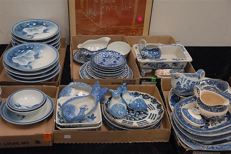 Six box lots of blue and white china and porcelain.