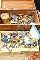 Box lot of gold jewelry, vintage jewelry, and costume jewelry.