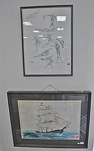 Two framed pieces, a watercolor sailing vessel signed indistinctly lower right and a sketch of human muscles by Wissman.