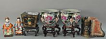 Seven piece Chinese group lot to include pair of porcelain Famille Rose fish bowls on stands, painted basket, pair of figures, embro...