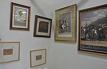Six framed pieces to include two early Indian watercolors, Ross Wetzel color litho, and three prints. 4