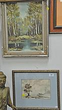 Group of six lithographs and oil paintings including Irving Amen 1918 woodcut 16