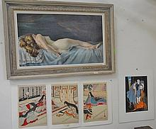 Three piece lot to include Charles Holder oil on canvas of female nude marked on reverse