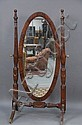 Large mahogany cheval mirror, ht. 74in.