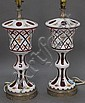Pair of cranberry overlay glass table lamps, ht. with shade 35in.