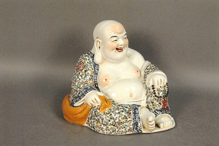 Large porcelain seated Buddha, ht. 7