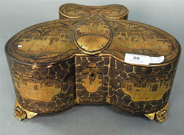 Chinese gilded black lacquer butterfly form tea box having gilded courtyard scenes throughout, molded butterfly form box on carved f...