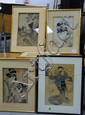 Group of five Japanese woodblock prints.