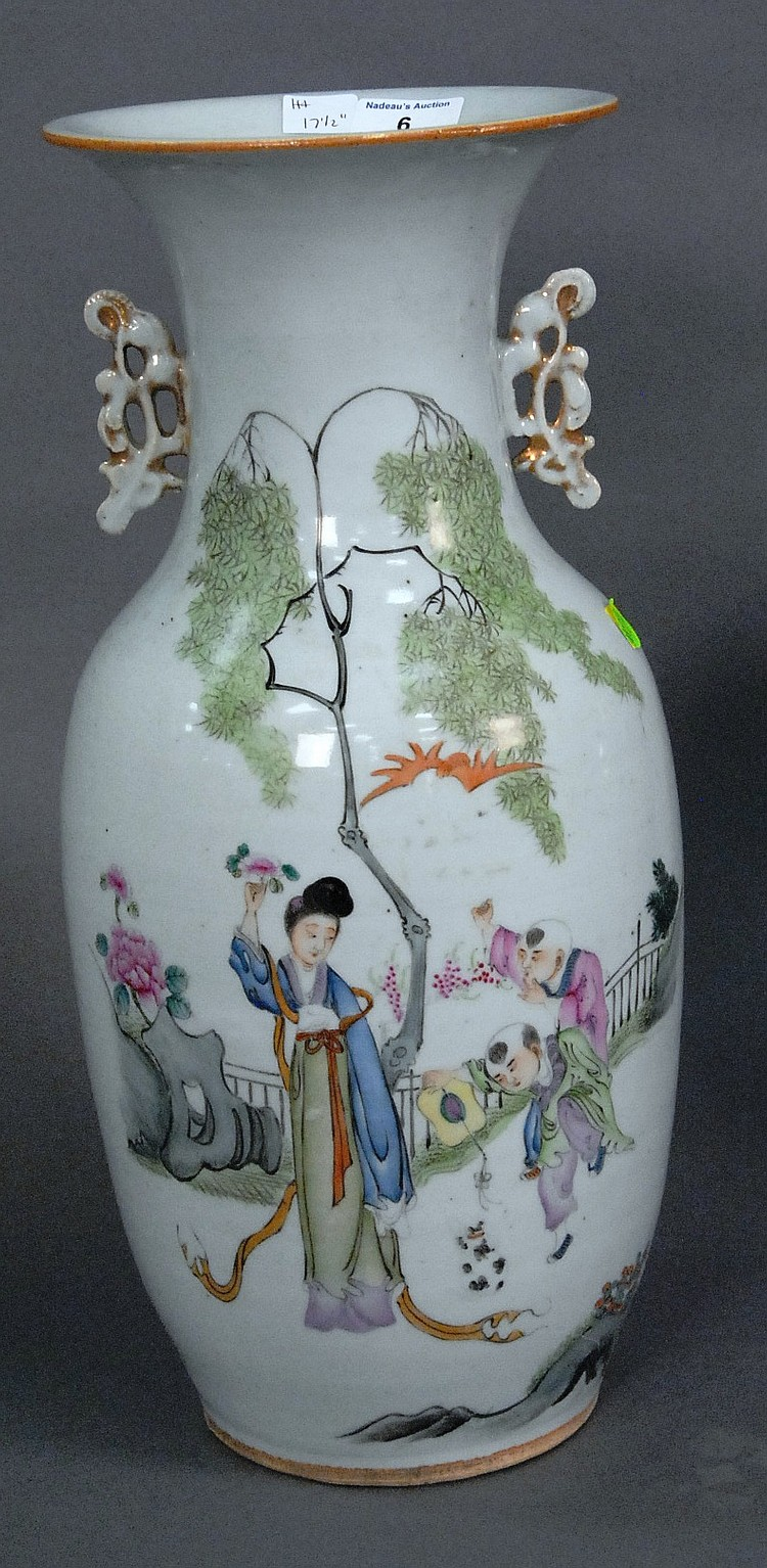 Tall Republic period vase with handles and painted courtyard scene and Guanyin, ht. 17 1/2in.