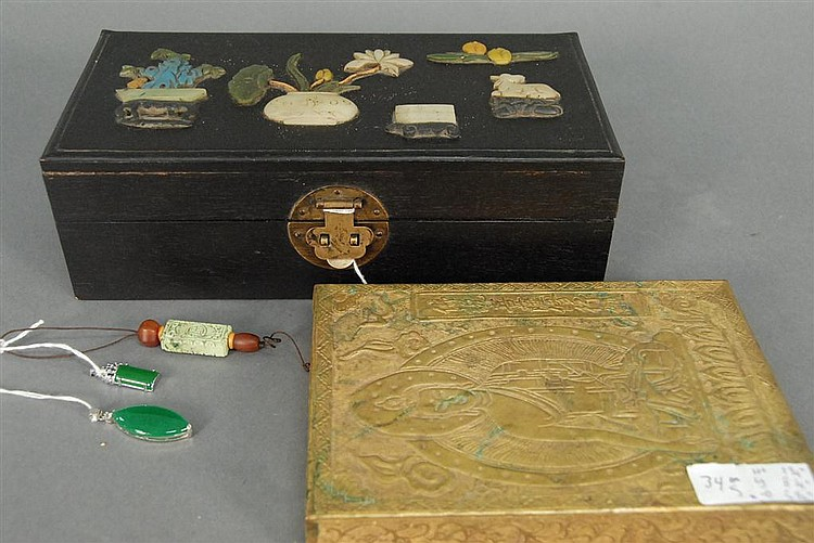 Group of Oriental items to include carved hardwood box mounted with stones, brass rectangular box, three necklace pendants, and a gr...