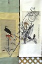 Two Oriental scrolls; watercolor bird on branch 35