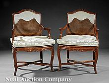 Provincial Carved Fruitwood and Caned Armchairs