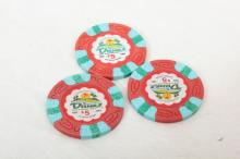 Lot of 3 Dunes Hotel $5 Chips Excellent Condition