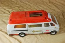 Vintage Tonka 1970's Rescue Ambulance Van  Orange and White w/ Gurney and Female Doll