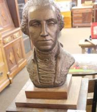 George Washington Bust on Wood Plinth