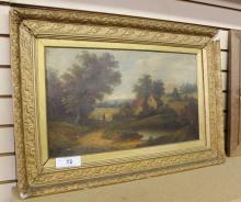 c. 1900 Oil on Canvas Landscape Signed by F. George