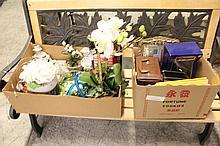 2 Box Lots: Figurines, Misc Home Decor &
