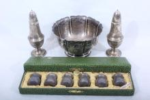 Sterling Bowl + 2 Shakers + 6 Small Shakers