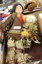 Native American Doll and 2 Clown Dolls