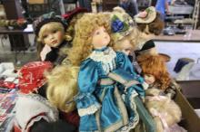 Box Lot of Porcelain Dolls
