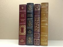 Franklin Library, Four Volumes:  JANE EYRE,  Charlotte Bronte, Illustrated 1980; STORIES,  Nathaniel Hawthorne, Illustrated 1978;  WUTHERING HEIGHTS, Emily Bronte 1975; THE  LAST OF THE MOHICANS, James Fenimore Cooper,