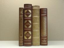 Franklin Library, Four Volumes:  THE ANALECTS  OF CONFUCIUS, Illustrated 1980; ROUND UP,  Ring Lardner, Illustrated 1977; THE PILGRIM'S  PROGRESS, illustrated 1976; CANTERBURY  TALES, Geoffrey Chaucer, Illustrated 1978.