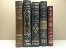 Franklin Library, Five Volumes:  COLLECTED  PLAYS, Arthur Miller, Illustrated 1981; SEVEN  GOTHIC TALES, Isak Dinesen, Illustrated  1978; ESSAYS, Michel deMontaigne,  Illustrated, 1980; SIX PLAYS, Lillian