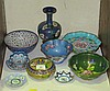 A collection of enamelled metal and cloisonne