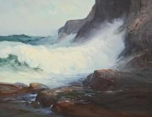 Roger william Curtis: Heavy Seas Oil on Canvas