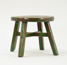 Paint decorated diminutive jointed stool