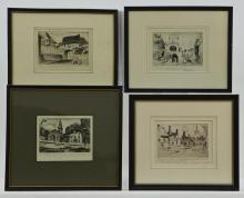 John Taylor Arms: Four Framed Etchings